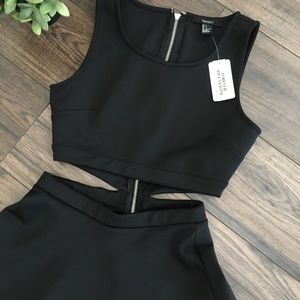 Forever 21 Black Cutout Skater Dress Size Small